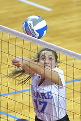 23 November 2017:  Paige Aspinwall makes a save at the net during a college women's volleyball match between the Drake Bulldogs and the Indiana State Sycamores in the Missouri Valley Conference Tournament at Redbird Arena in Normal IL (Photo by Alan Look)