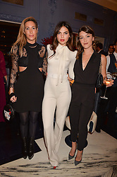 LONDON, ENGLAND 8 DECEMBER 2016: Doina Ciobanu, Laura Pradelska, Eleanor Gecks at the Omega Constellation Globemaster Dinner at Marcus, The Berkeley Hotel, Wilton Place, London England. 8 December 2016.