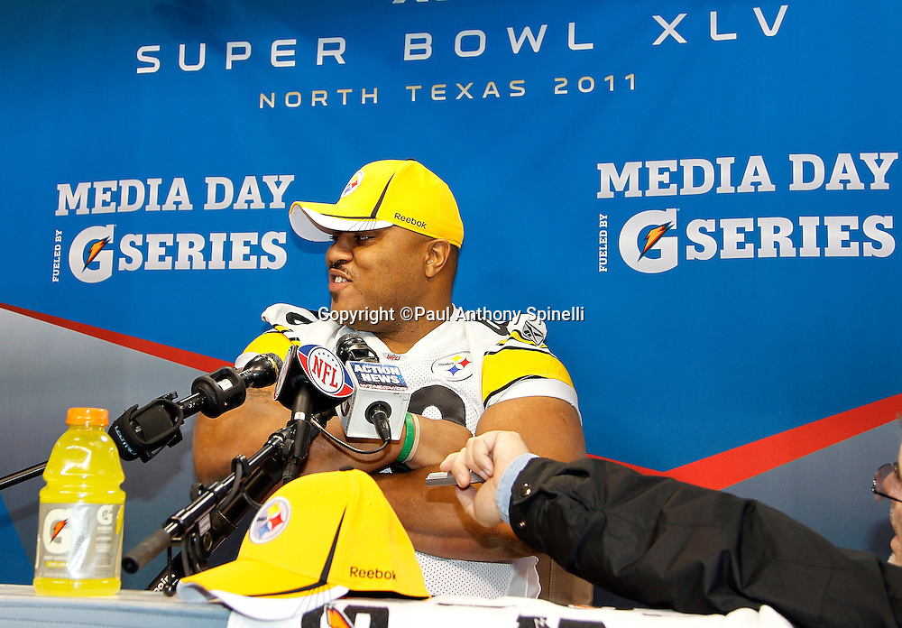 Pittsburgh Steelers defensive tackle Casey Hampton (98) smiles as he speaks to the press at Super Bowl XLV media day prior to NFL Super Bowl XLV against the Green Bay Packers. Media day was held on Tuesday, February 1, 2011 in Arlington, Texas. ©Paul Anthony Spinelli