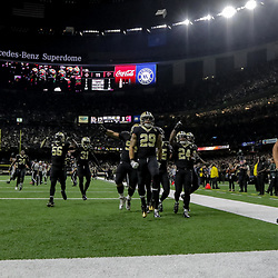 Nov 22, 2018; New Orleans, LA, USA; The New Orleans Saints defense celebrates after a fumble recovery against the Atlanta Falcons during the second quarter at the Mercedes-Benz Superdome. Mandatory Credit: Derick E. Hingle-USA TODAY Sports