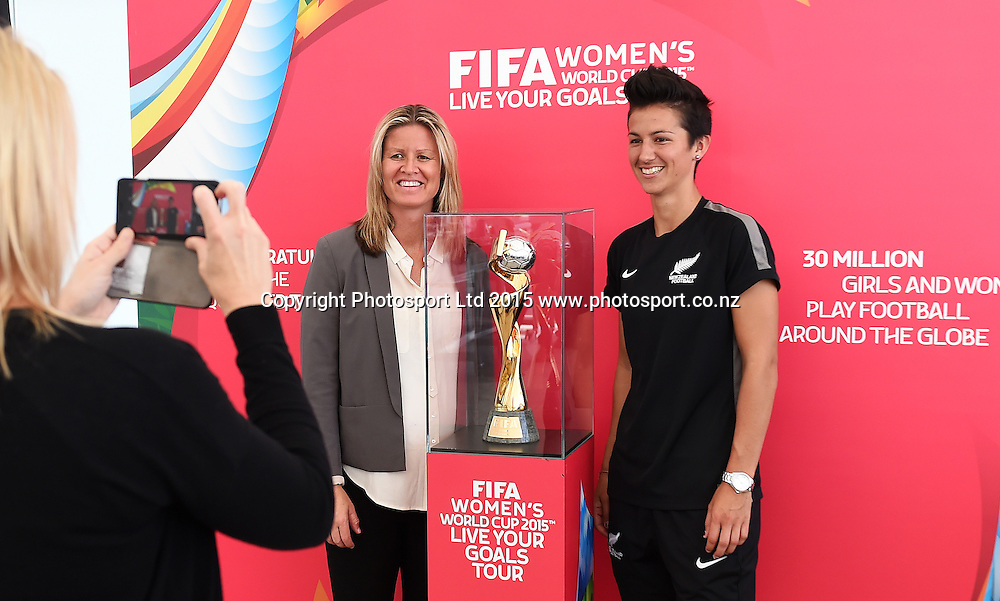 Maia Jackman and Abby Erceg. FIFA Women's World Cup 2015. Live Your Goals Tour. Auckland. New Zealand. Wednesday 11 February 2015. Copyright Photo: Andrew Cornaga / www.photosport.co.nz