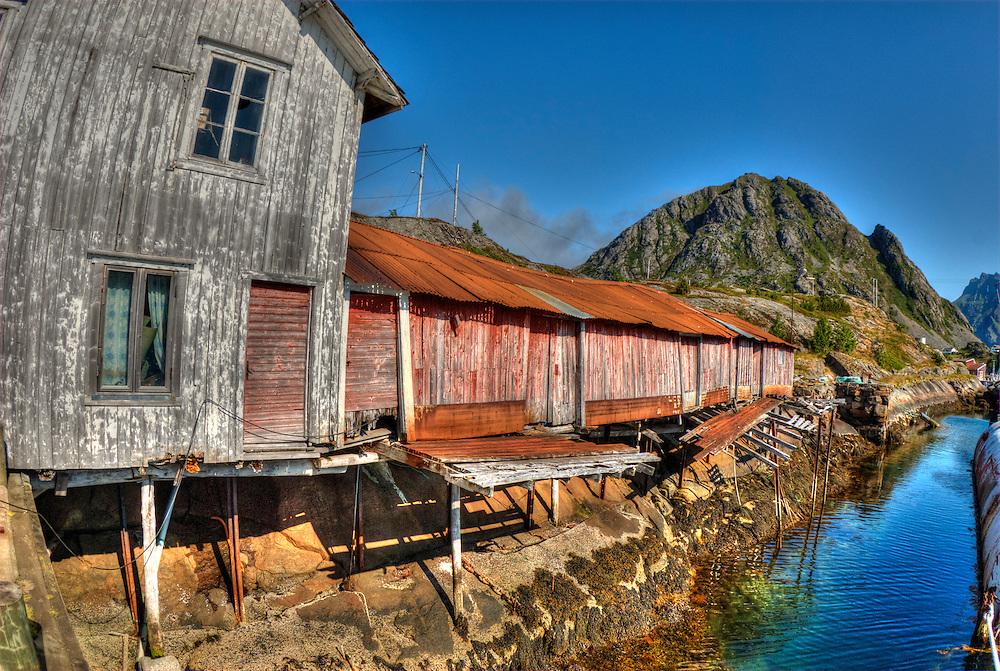 Abandoned fishing huts. Lofoten Islands.