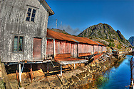 Abandoned fishing huts. Lofoten Islands.