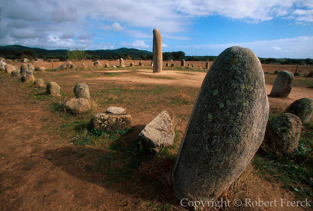 PORTUGAL, ALENTEJO AREA, PREHISTORIC Megalithic stone menhir (upright) stone 4 meters high, c. 300 BC; located near Reguengos de Monsaraz