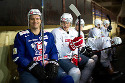 Marcel Rodman and Ziga Pavlin at first practice of Slovenian National Ice Hockey team before EIHC tournament in Innsbruck, on November 4, 2013 in Ledena dvorana Bled, Bled, Slovenia. (Photo by Matic Klansek Velej / Sportida.com)