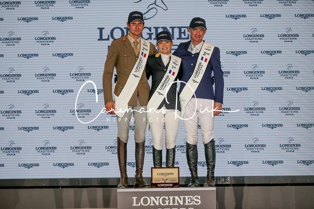 Podium Grand Prix, Alexander Edwina, Zorzi Alberto, Lynch Denis<br /> LONGINES Masters - Paris 2018<br /> © Hippo Foto - Julien Counet<br /> 02/12/2018