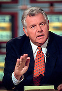 William Bennett discusses the upcoming impeachment hearings against President Clinton during NBC's Meet the Press October 4, 1998 in Washington, DC.