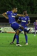 Lyle Taylor AFC Wimbledon during the Johnstone's Paint Trophy match between AFC Wimbledon and Plymouth Argyle at the Cherry Red Records Stadium, Kingston, England on 1 September 2015. Photo by Stuart Butcher.