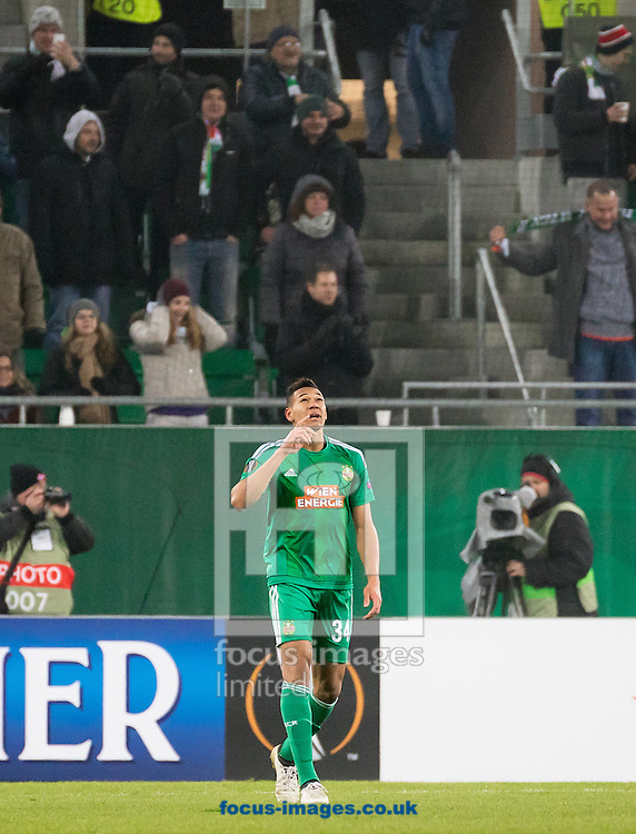 Joelinton of Rapid Vienna celebrates scoring their first goal during the UEFA Europa League match at Allianz Stadion, Vienna<br /> Picture by EXPA Pictures/Focus Images Ltd 07814482222<br /> 08/12/2016<br /> *** UK &amp; IRELAND ONLY ***<br /> <br /> EXPA-PUC-161208-0228.jpg