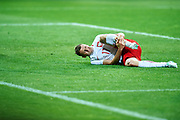 Lublin, Poland - 2017 June 16: Pawel Dawidowicz from Poland U21 injured lies on the pitch while Poland v Slovakia match during 2017 UEFA European Under-21 Championship at Lublin Arena on June 16, 2017 in Lublin, Poland.<br /> <br /> Mandatory credit:<br /> Photo by &copy; Adam Nurkiewicz / Mediasport<br /> <br /> Adam Nurkiewicz declares that he has no rights to the image of people at the photographs of his authorship.<br /> <br /> Picture also available in RAW (NEF) or TIFF format on special request.<br /> <br /> Any editorial, commercial or promotional use requires written permission from the author of image.