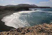 Black sand beach at the coastal village of Ajuy, Fuerteventura, Canary Islands, Spain