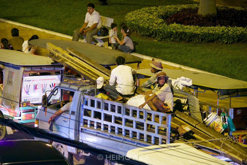Phnom Penh, Cambodia. Evening rush hour seen from Foreign Correspondents Club (FCC).