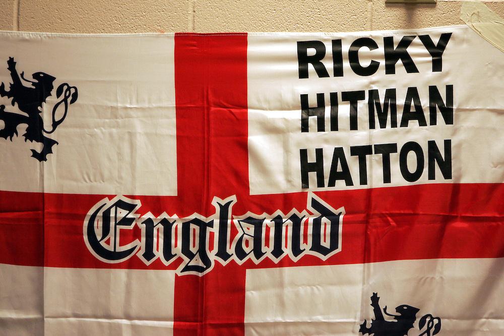 Ricky Hatton union jack in the changing room. ..Ricky Hatton v Floyd Mayweather, Las Vegas, Nevada.