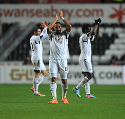 Swansea City's Ashley Williams claps the home fans. - Photo mandatory by-line: Alex James/JMP - Tel: Mobile: 07966 386802 28/01/2014 - SPORT - FOOTBALL - Liberty Stadium - Swansea - Swansea City v Fulham - Barclays Premier League