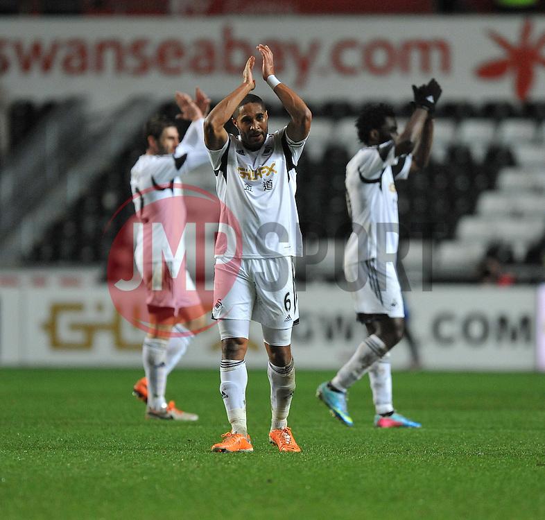 Swansea City's Ashley Williams claps the home fans. - Photo mandatory by-line: Alex James/JMP - Tel: Mobile: 07966 386802 28/01/2014 - SPORT - FOOTBALL - Liberty Stadium - Swansea - Swansea City v Fulham - Barclays Premier League