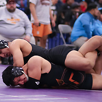 Alex Escudero of Los Gatos (top) in the 2018 CCS Wrestling Championships (Photo by Bill Gerth)