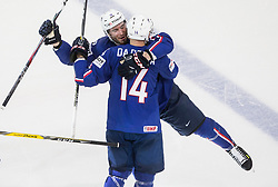 Yohann Auvitu of France and Stephane da Costa of France celebrate after winning during the 2017 IIHF Men's World Championship group B Ice hockey match between National Teams of France and Belarus, on May 12, 2017 in AccorHotels Arena in Paris, France. Photo by Vid Ponikvar / Sportida