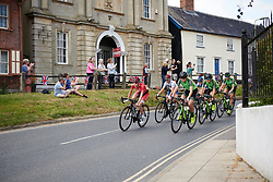 Nicole Hanselmann (SUI) and Pauliena Rooijakkers (NED) lead the peloton through Debenham at OVO Energy Women's Tour 2018 - Stage 1, a 130 km road race from Framlingham to Southwold, United Kingdom on June 13, 2018. Photo by Sean Robinson/velofocus.com