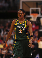 Sep 5, 2010; Phoenix, AZ, USA; Seattle Storm forward Swin Cash (2) reacts on the court against the Phoenix Mercury during the first half in game two of the western conference finals in the 2010 WNBA Playoffs at US Airways Center.  The Storm defeated the Mercury 91-88.  Mandatory Credit: Jennifer Stewart-US PRESSWIRE.