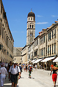 Croatia, Dubrovnik, the Walled Old City Placa, street scene with Franciscan Monastery belfry