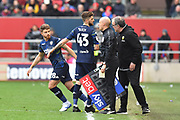 Substitution - Gaetano Berardi (28) of Leeds United replaces Mateusz Klich (43) of Leeds United during the EFL Sky Bet Championship match between Bristol City and Leeds United at Ashton Gate, Bristol, England on 9 March 2019.
