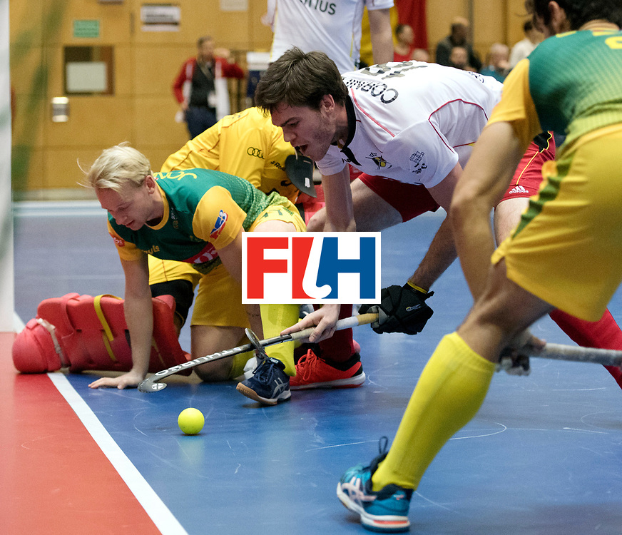BERLIN - Indoor Hockey World Cup<br /> South Africa - Belgium<br /> foto: Thibault Cornillie AND Jarryd Jones <br /> WORLDSPORTPICS COPYRIGHT FRANK UIJLENBROEK