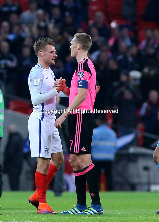 11.11.2016. Wembley Stadium, London, England. World Cup Qualifying Football. England versus Scotland. Jamie Vardy of England shakes hands with Darren Fletcher of Scotland at full time