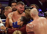 LAS VEGAS, NEVADA - JUNE 15: Tyson Fury(R) talks with Tom Schwarz after the fight was stop in the second round fight at MGM Grand Garden Arena on June 15, 2019 in Las Vegas, Nevada. Tyson Fury took the win by took the win by TKO. (Photo by MB Media/Getty Images)