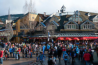 Whistler Village is filled with excited visitors and locals for the 2010 Olympic Winter Games.