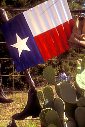 Texas flag painted onto a sheet of metal hanging on a fence