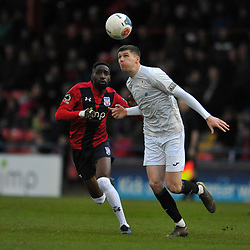 TELFORD COPYRIGHT MIKE SHERIDAN Matt Stenson of Telford (on loan from Solihull Moors) during the Vanarama Conference North fixture between AFC Telford United and York City at Bootham Crescent on Saturday, January 11, 2020.<br /> <br /> Picture credit: Mike Sheridan/Ultrapress<br /> <br /> MS201920-040