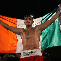 Conor Coyle celebrates after defeating Joshua Maxwell during a Fire Fist Boxing Promotions boxing match at the A La Carte Pavilion on Saturday, August 12 , 2017 in Tampa, Florida.  (Alex Menendez via AP)