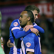 Chris O'Grady scores to make it 2-0 to Brighton during the The FA Cup match between Brentford and Brighton and Hove Albion at Griffin Park, London, England on 3 January 2015.