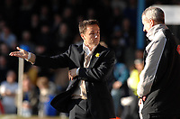 Photo: Ashley Pickering.<br />Southend United v Leeds United. Coca Cola Championship. 17/03/2007.<br />Leeds manager Dennis Wise speaks with the 4th official
