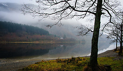 Mist hangs over Loch Lubnaig, near Callander, Stirlingshire on a cold February morning.<br /> <br /> (c) Andrew Wilson | Edinburgh Elite media