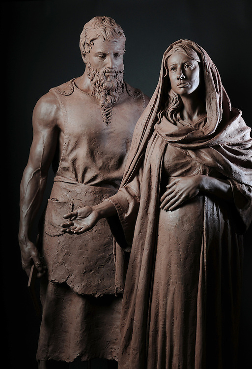 """""""Mary & Joseph""""  by sculptor Rip Caswell.  Mount Angel Abby, Benedict, Oregon."""
