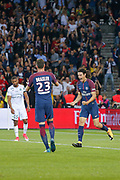 Edinson Roberto Paulo Cavani Gomez (psg) (El Matador) (El Botija) (Florestan) scored a goal and celebrated it with Julian Draxler (PSG), Saidy Janko (AS Saint-Etienne) during the French championship L1 football match between Paris Saint-Germain (PSG) and Saint-Etienne (ASSE), on August 25, 2017 at Parc des Princes, Paris, France - Photo Stéphane Allaman / ProSportsImages / DPPI