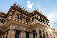 Jaipur City Palace was once the seat of the Maharaja of Jaipur.  Within the palace complex, the Chandra Mahal palace is now a museum. The city palace complex has a vast array of courtyards and gardens. The architects fused Rajput, Mughal and European styles of architecture.