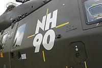 15 JUL 2002, VEITSHOECHHEIM/GERMANY:<br /> Logo NH 90 am Transporthubschrauber NH 90, der zukuenftige Hubschrauber von Heer, Luftwaffe und Marine, produziert von NHIndustries,  einer europaeischen Kooperation von Eurocopter, Agusta, Stork-Fokker, Veitshoechheim<br /> IMAGE: 20020715-01-002<br /> KEYWORDS: Veitshöchheim, helicopter, sign