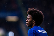 Chelsea (22) Willian  during the Premier League match between Chelsea and West Ham United at Stamford Bridge, London, England on 8 April 2018. Picture by Sebastian Frej.