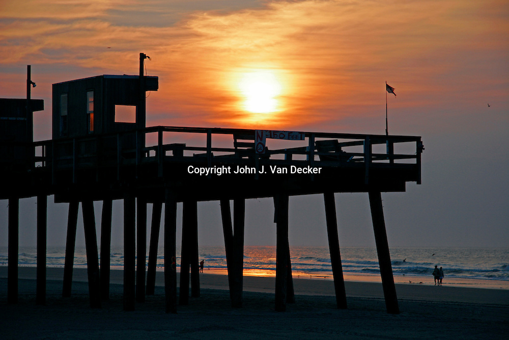 Sunrise over fishing pier - Wildwood Crest, NJ, USA scenic