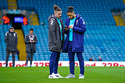 Leeds United midfielder Kalvin Phillips (23) and Leeds United forward Tyler Roberts (11) arrives at the ground during the EFL Sky Bet Championship match between Leeds United and Bristol City at Elland Road, Leeds, England on 15 February 2020.