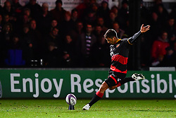 Dragons' Gavin Henson converts his sides second try<br /> <br /> Photographer Craig Thomas/Replay Images<br /> <br /> EPCR Champions Cup Round 3 - Newport Gwent Dragons v Newcastle Falcons - Saturday 15th December 2017 - Rodney Parade - Newport<br /> <br /> World Copyright © 2017 Replay Images. All rights reserved. info@replayimages.co.uk - www.replayimages.co.uk