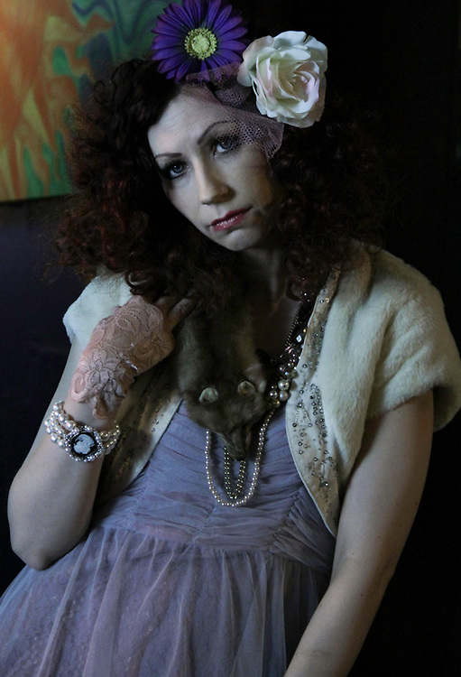Production Still of Seattle Actress Jen Page on the set of the Michael Kleven film The Professional Man. Filmed at the Blue Moon Tavern June 2010