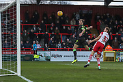 Forest Green Rovers Christian Doidge(9) heads the ball scores a goal 0-2 during the EFL Sky Bet League 2 match between Stevenage and Forest Green Rovers at the Lamex Stadium, Stevenage, England on 26 January 2019.
