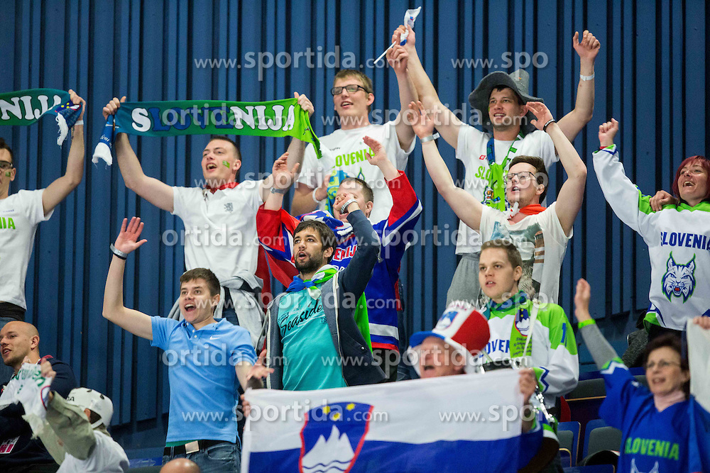 Supporters of Slovenia during Ice Hockey match between Russia and Slovenia at Day 3 in Group B of 2015 IIHF World Championship, on May 3, 2015 in CEZ Arena, Ostrava, Czech Republic. Photo by Vid Ponikvar / Sportida