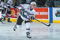 KELOWNA, CANADA - MARCH 5: Riley Stadel #3 of Kelowna Rockets warms up against the Kamloops Blazers on March 5, 2016 at Prospera Place in Kelowna, British Columbia, Canada.  (Photo by Marissa Baecker/Shoot the Breeze)  *** Local Caption *** Riley Stadel;