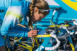 Ingrid Drexel carefully notes the key points of the race - Ronde van Drenthe 2016, a 138km road race starting and finishing in Hoogeveen, on March 12, 2016 in Drenthe, Netherlands.