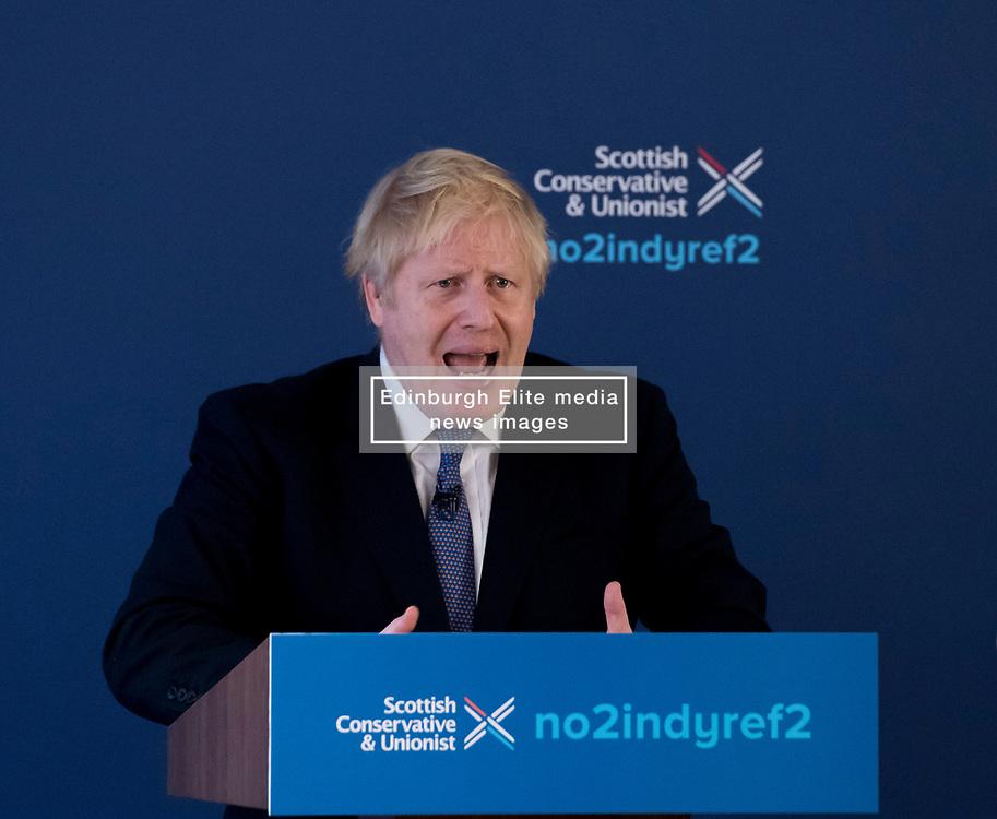 Prime Minister Boris Johnson launched the Scottish Conservatives manifesto in North Queensferry, Fife, with Scottish Conservative leader Jackson Carlaw.<br /> <br /> © Dave Johnston / EEm