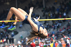 April 28, 2018 - Philadelphia, Pennsylvania, U.S - MEAGAN MMCCLOSKEY (7) of Penn State in action during the CW high jump championship at the 124th running of the Penn Relays in Philadelphia Pennsylvania (Credit Image: © Ricky Fitchett via ZUMA Wire)
